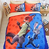 Sport do Children Creative Zootopia Clear 3D Bedding Set Sanding 4 Pieces Reactive Printing Quilt Cover Flat Sheet Full Size Gift for Friends