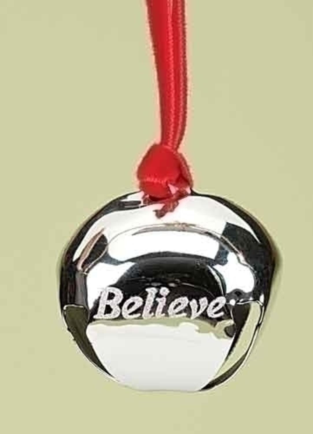 """1.5"""" Christmas Traditions Believe Silver Metal Jingle Bell Christmas Ornament"""