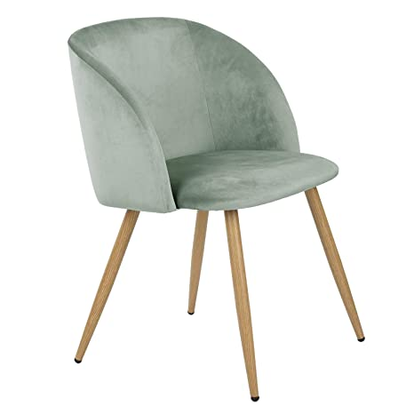 . Homy Casa Accent Living Room Armchair Velvet Dining Chair Eiffel Style Side  Chair with Metal Legs  Green
