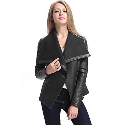 BGSD Women's Lily Lambskin Leather Drape Jacket (Regular & Plus Size) at Women's Coats Shop