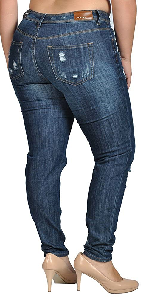 7bbc692248b Dollhouse Womens Stretch Pull-on Skinny Ripped Distressed Denim Jeans   Amazon.co.uk  Clothing