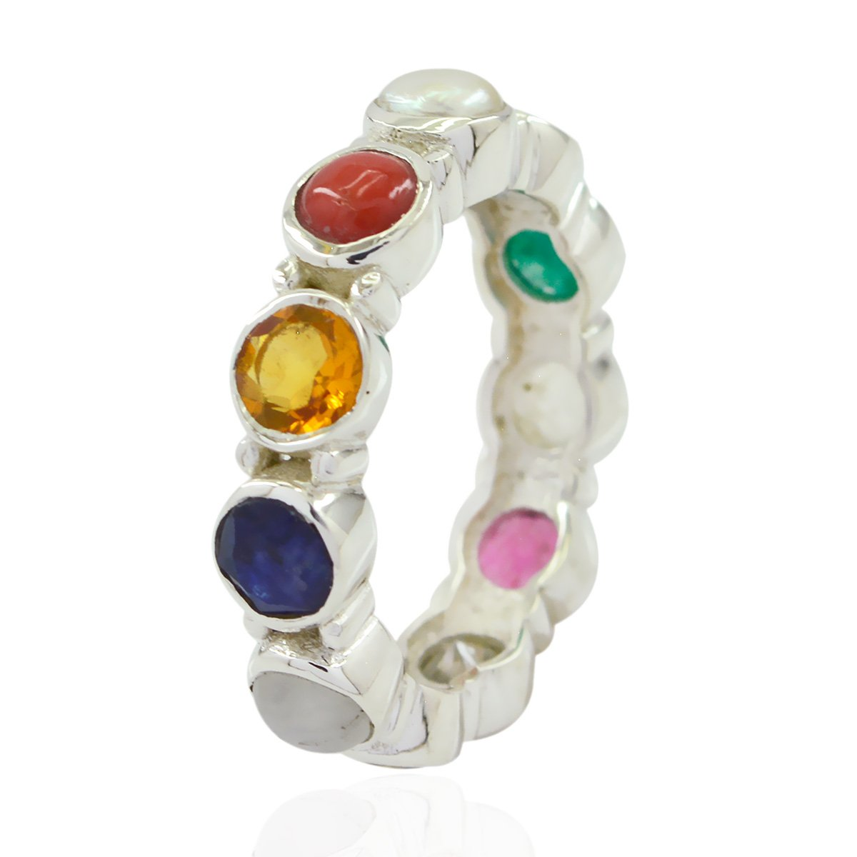 Solid Fashion Multi Colour Multi Gemstone Lucky Gemstone Ring Kids Jewelry Highest Selling Shops Gift for Fathers Day Dainty Ring Lucky Gemstone Round Faceted Multi Gemstone Rings