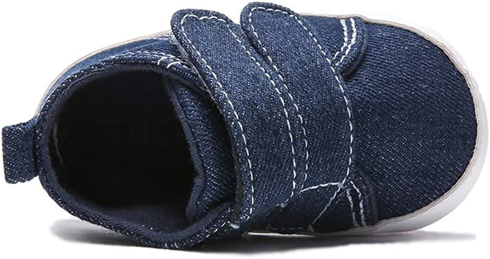 EEFRVDFFDE Canvas Sneakers for Infant Baby Boy Soft Sole First Walking Crib Shoes Blue,0-18 Months