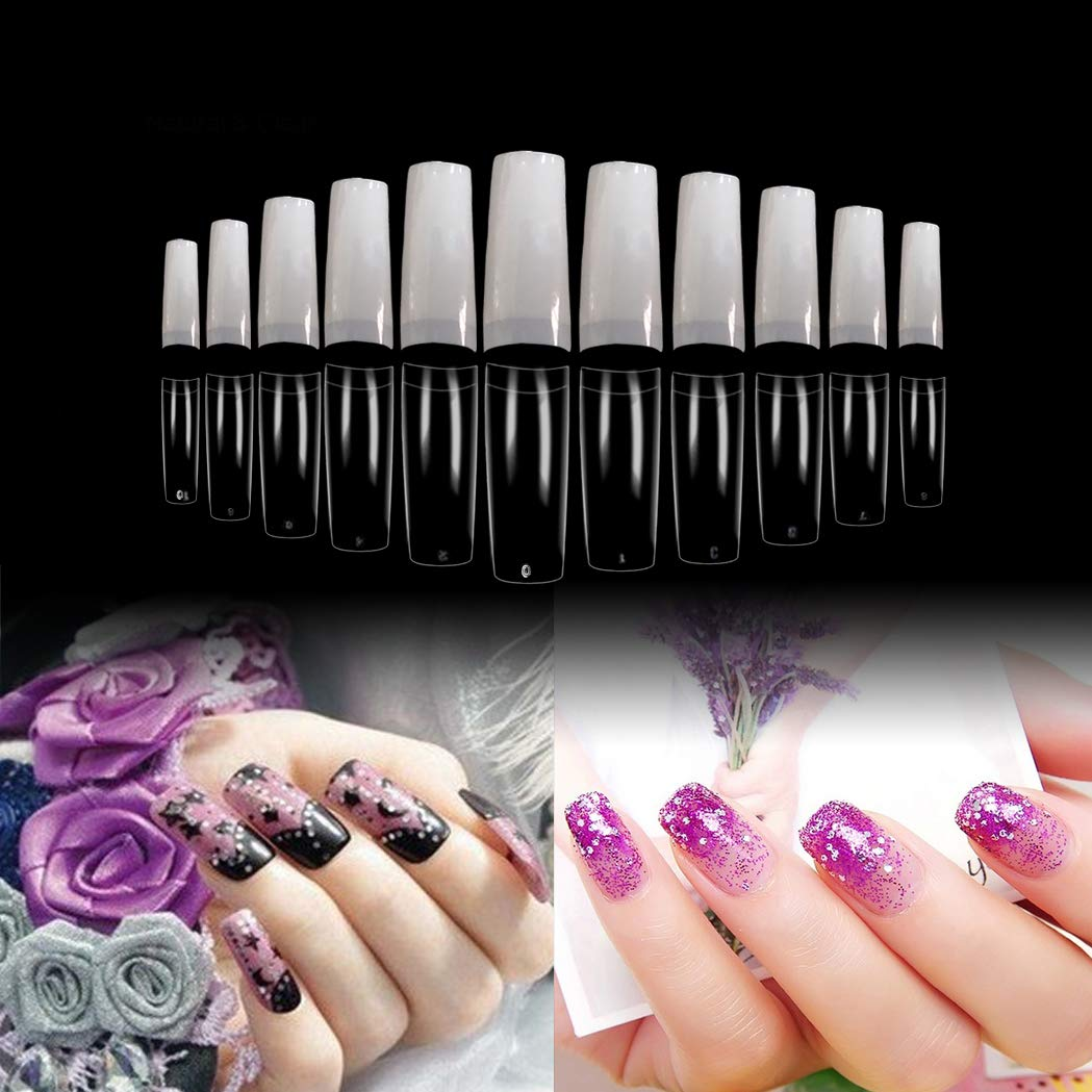 Vivace 2Pack Natural/Clear 2 Color Half Moon 1100 Nail Tips(Clear 550tips/ Natural 550tips) 11Sizes,Long Ballerina Nails, Acrylic Nail Tips (Half Moon) by Vivace