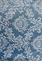 """Charleston Blue Scroll Damask Flannel Backed Vinyl Tablecloth - 52"""" x 52"""" Square"""