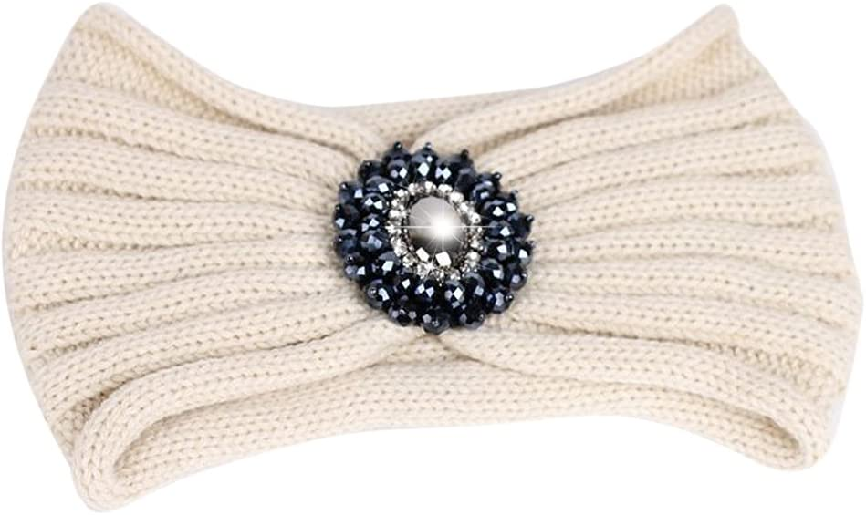 TININNA Diadema Mujer Invierno, Turbante Vendas Hairband Earwarmer Elasticas Anchas Tejida Lana Cintas para El Pelo Mujer con una Piedra Preciosa-Beige