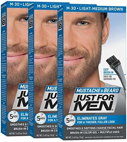 Just For Men Mustache & Beard Brush-In Color Gel, Light-Medium Brown (Pack of 3, Packaging May Vary)