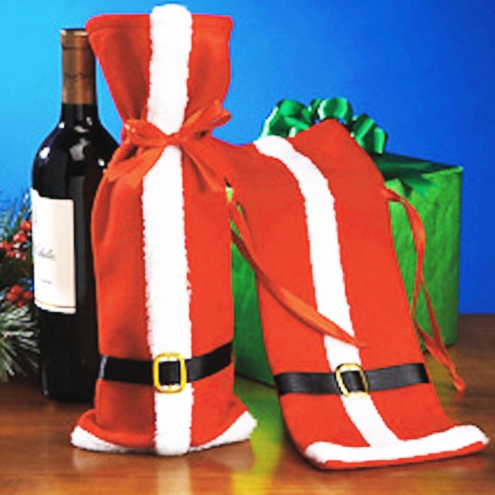 Woopower, set di 2 copri bottiglia di vino natalizi, decorazione per la tavola, idea regalo carina, decorazione per casa e feste, Panno, Red, 27cm*14cm