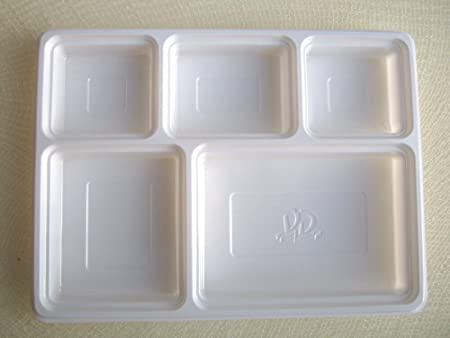 50 Deluxe Heavy Duty 5 Compartment Plastic Dinner Plates: Amazon.co ...