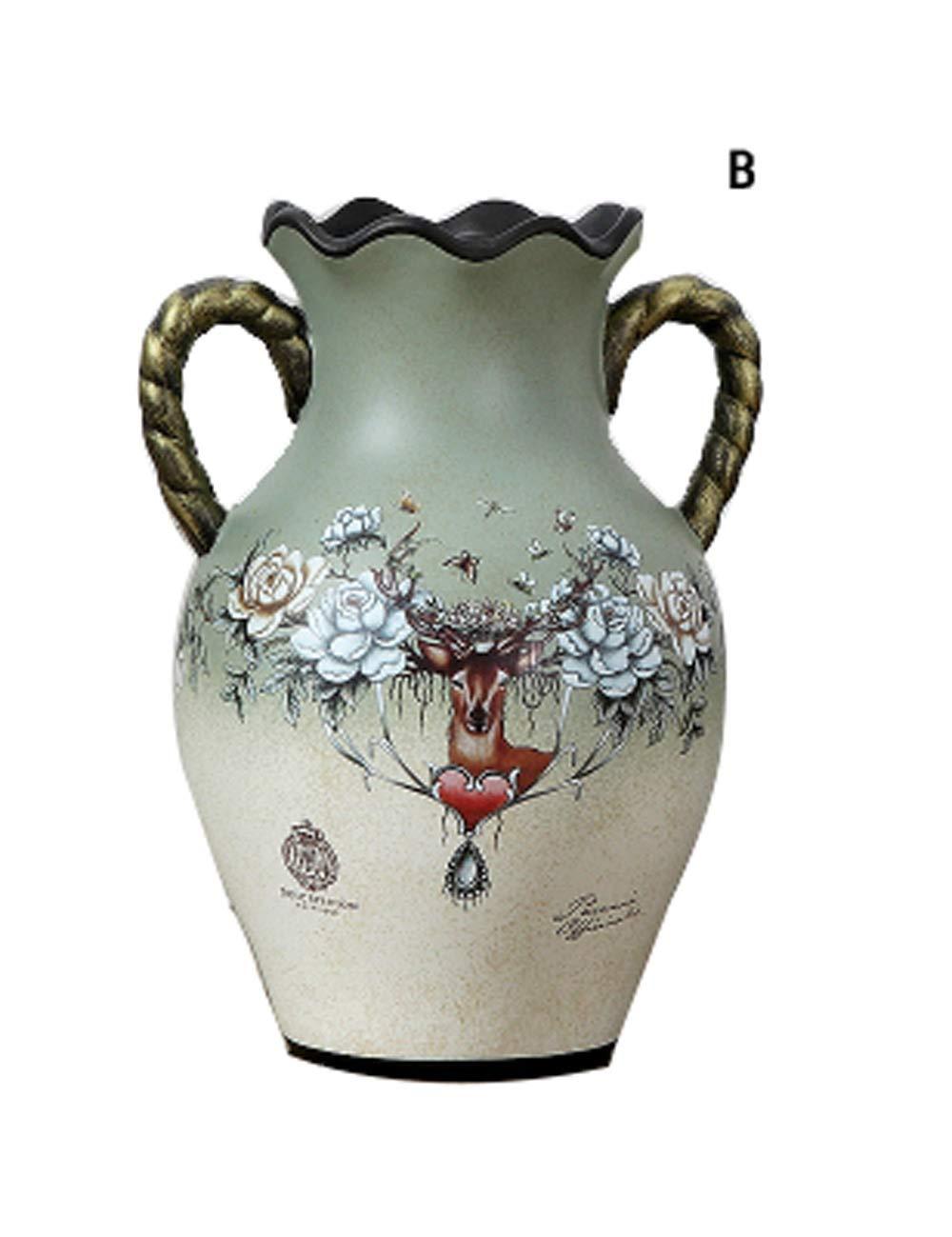 装飾品、樹脂材料のアートワーク、ヨーロッパスタイルのレトロ装飾、クリエイティブな花瓶の工芸品 (三 : B) B  B07K1C1PXF