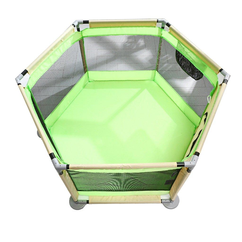 【後払い手数料無料】 ソフトラージ新生児用プレイペン B07LBRY8S3、プレイヤード折り畳み式ルームディバイダーオックスフォードクロス6サイドパネル (色 : Green, サイズ さいず mat Green : Without mat) Without mat Green B07LBRY8S3, 岩井市:9caede1b --- a0267596.xsph.ru
