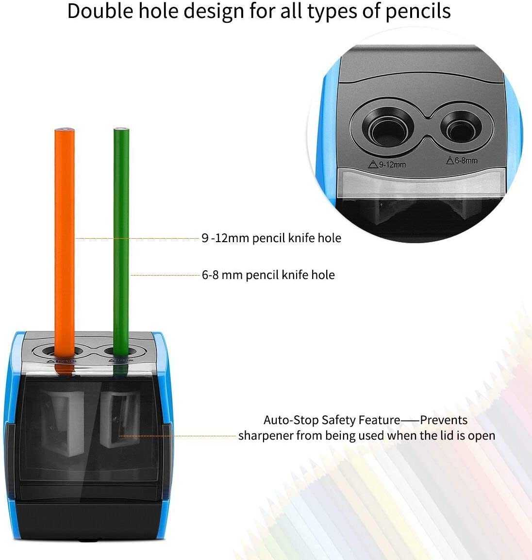 Best USB or Battery Operated for No.2 and Colored Pencil SMARTRO Electric Pencil Sharpener