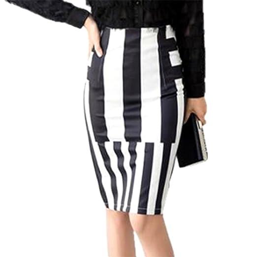 b2912adc55f2 Nice S-3XL Womens Striped Skirts Winter Sexy High Waist Skirt Office Ladies  Elastic Summer