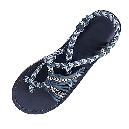 11e6a877fd1 Amazon.com  Women Woven Sandals Hemp Rope Flat Thong Sandals Casual Flip  Flops Sandals Summer Outdoor Romen Beach Shoes for Women   Girls  Kitchen    Dining
