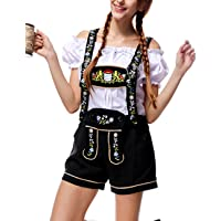 Cyndie Women Classic Retro Oktoberfest Costumes Sexy Charming Off Shoulder Beer Festival Tops + Suspenders Pants