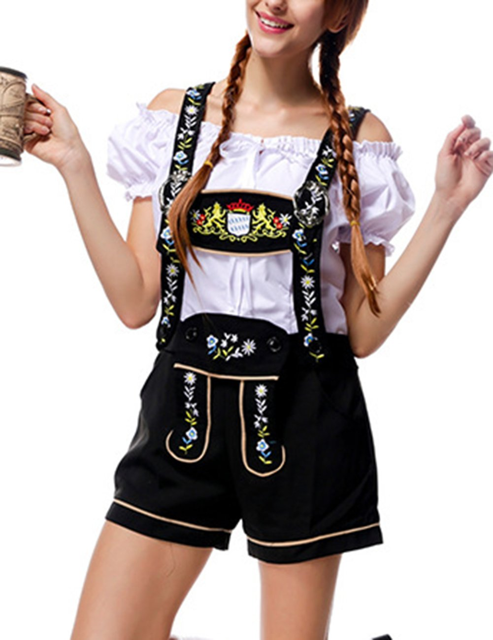 Yiwa Oktoberfest Costumes Women Classic Retro Costumes Sexy Charming Off Shoulder Beer Festival Tops + Suspenders Pants by Yiwa (Image #2)