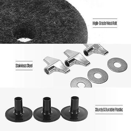 Muslady Kit daccessoires de batterie Support pour cymbale Feutres Hi-Hat pour embrayage Feutres pour coupe Hi-Hat Feutres /Écrous /à oreilles de cymbales Manchons de cymbales et joints m/étalliques Gris