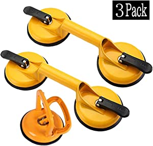 3 Pack Glass Suction Cups Heavy Duty Aluminum Vacuum Plate Handle Glass Holder Hooks to Lift Large Glass/Floor Gap Fixer/Tile Suction Cup Lifter/Moving Glass/Pad for Lifting/Dent Puller