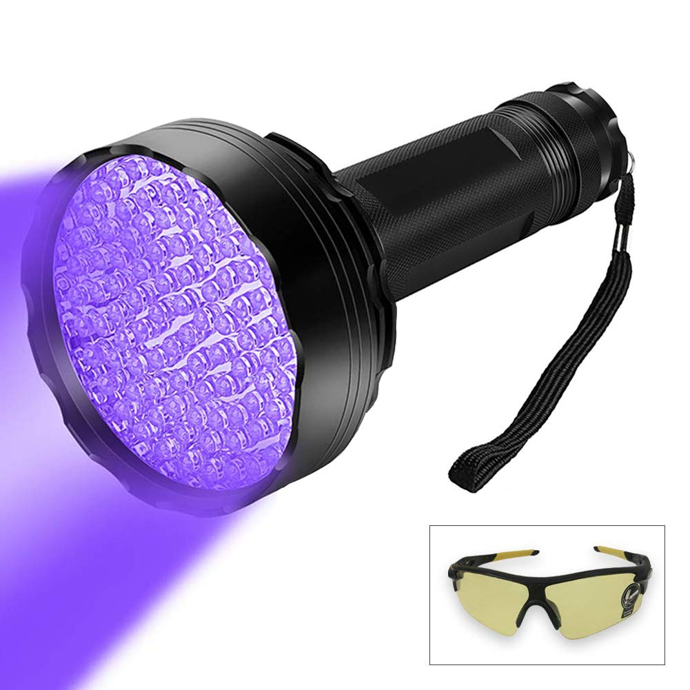 100 LED Professional Black Light UV Flashlight 395 NM UV Detector for Pet Urine Detection Cat Urine, Bed Bugs, Scorpions, Machinery Leaks Inspection for Travel Outdoor/Domestic Use by WENORLIND