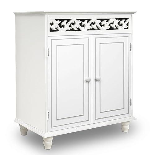 Deuba Wooden Cabinet »Nostalgia« Cupboard Doors Storage For Bathroom  Kitchen Living Room White With