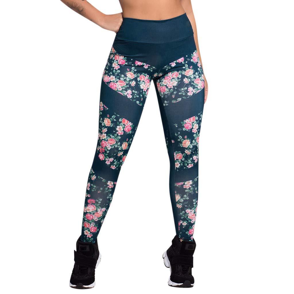 YunZyun Women's Print High Waist Yoga Pants Tummy Control Workout Running Sports Gym Yoga Athletic Pants Stretch Yoga Leggings Pants (XL)