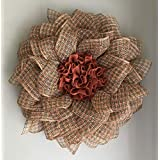 Fall Autumn Poly Burlap Mesh Welcome Front Door Country Farmhouse Welcome Flower Wreath