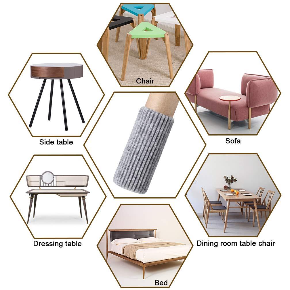 Calcetines de poli/éster para patas de silla para patas de muebles de 1-1//2 a 2-1//4 pulgadas color gris de lana el/ástica 24 unidades para muebles de suelo SACONELL