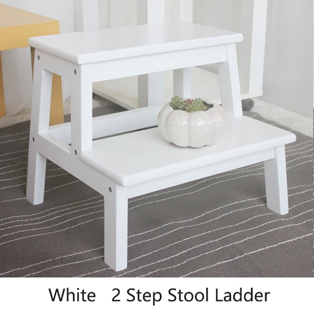 White 402450cm Hai Yan Portable Step Stool Kitchen Wood Ladders Small Foot Stools Wooden 2 Tread Step Stool for Adults & Kids Indoor Portable Flower Rack shoes Bench Storage Shelf
