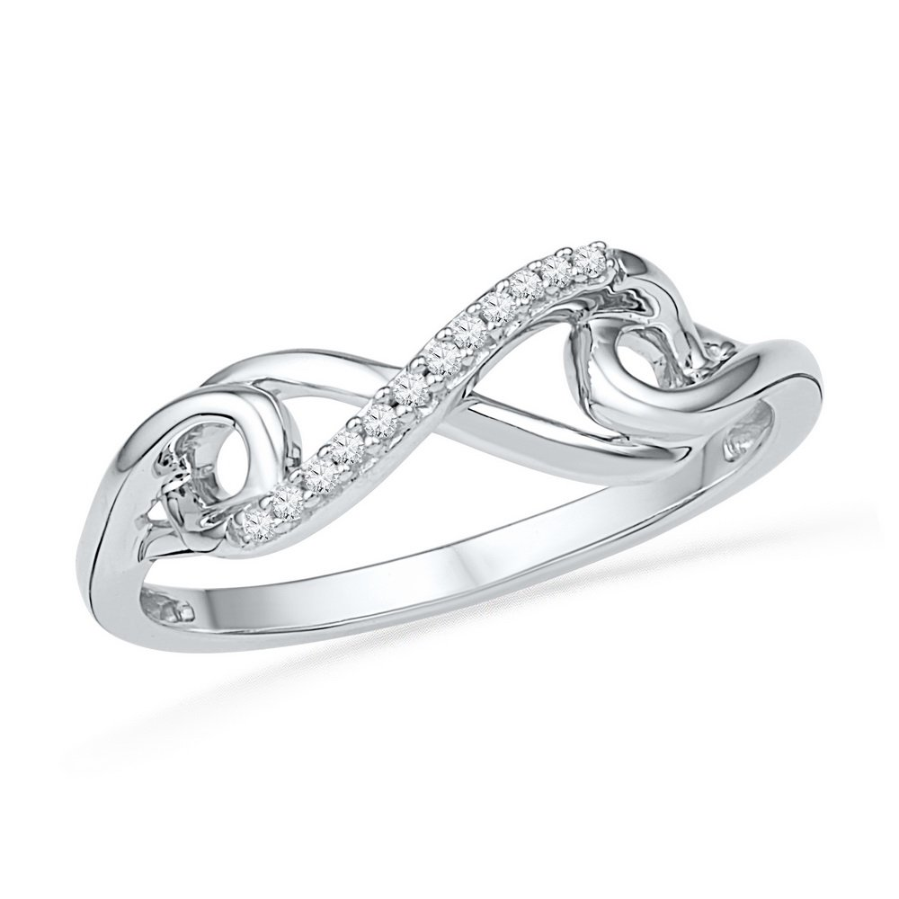 10kt White Gold Womens Round Diamond Infinity Knot Ring 1/20 Cttw (I2-I3 clarity; J-K color)