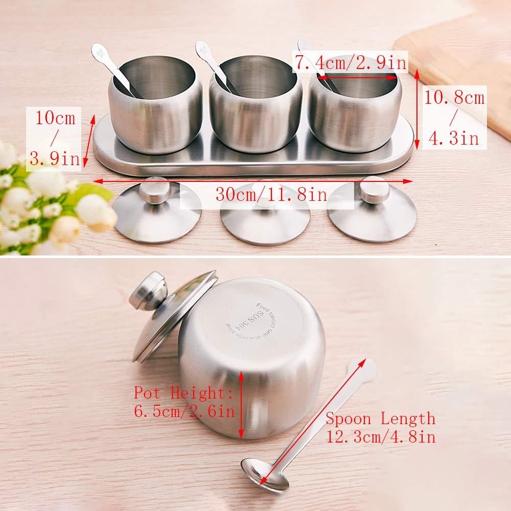 ZZM Contenants dassaisonnement en Acier Inoxydable Coffret 3 Pots Pots /à /épices Cuisine Sel Poivre Sucre Condiment Bo/îte de Stockage pour Condiments Peut avec 3 cuill/ères 1 Base antid/érapante