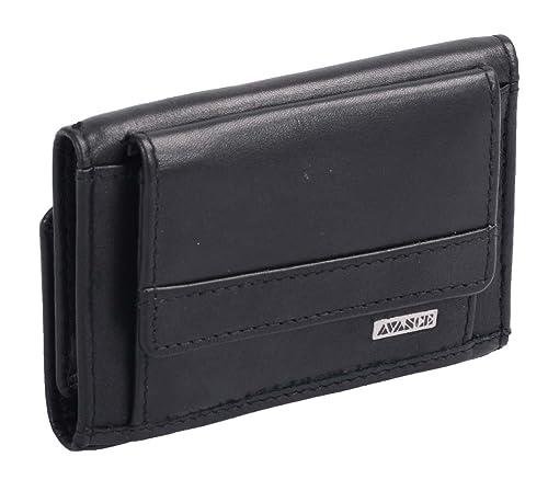 Mini-cartera AVANCO, de cuero, negra 9x6x1,5cm: Amazon.es: Zapatos y complementos