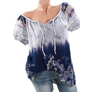 4407eadfa93 Rambling Women Boho Lace Print Short Sleeve Cold Shoulder Loose Blouse Top  Plus Size Purple