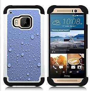 For HTC ONE M9 - Water Droplets Blue Wall Pattern Nature /[Hybrid 3 en 1 Impacto resistente a prueba de golpes de protecci????n] de silicona y pl????stico Def/ - Super Marley Shop -