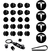 Wheel Cap Kit Center Cap Set and Wheel Lug Nut Cover fit for Tesla Model 3 Aero White