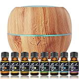 ArtNaturals Aromatherapy Essential Oil and Diffuser Set - 150ml & Top 8 - Peppermint, Tee Tree, Rosemary, Orange, Lemongrass, Lavender, Eucalyptus, & Frankincense - Auto Shut-off and 7 Color LED Light