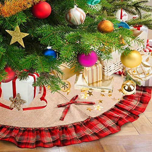 (Christmas Tree Skirt, 48 inch Plaid Ruffle Edge Linen Burlap Tree Skirt Mat for Indoor Outdoor Christmas Decorations Home and Holiday Party, Red Black)