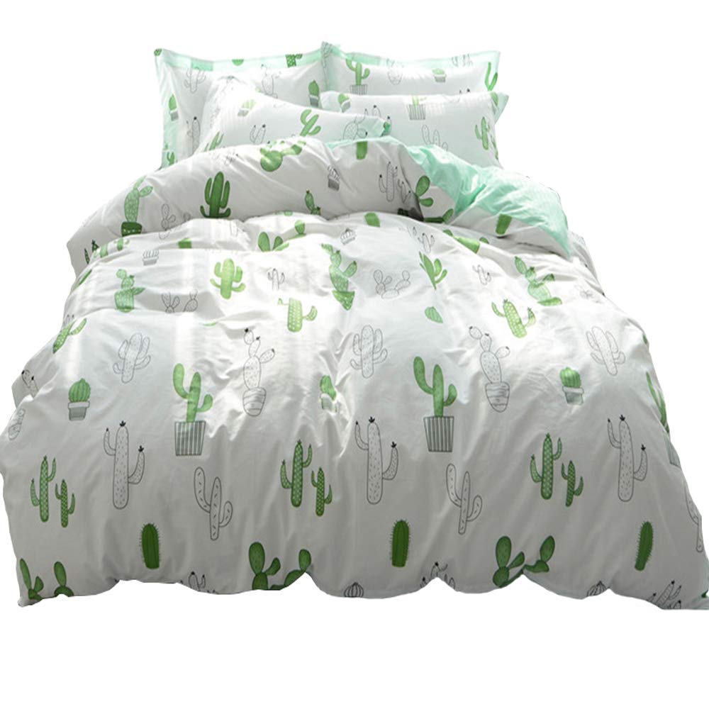 HIGHBUY Cactus Print Kids Twin Duvet Cover Sets Cotton Lightweight Soft Bedding Sets 3 Pieces for Children Girls Bed Collection Zipper Closure 4 Corner Ties HB16073cattusOT