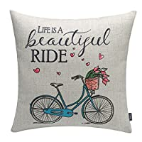 "TRENDIN 18x18"" Vintage Bike Bicycle with Flowers Ride Cotton Linen Cushion Cover Throw Pillow Case Sofa Decorative"