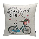TRENDIN 18x18 Vintage Blue Bike Bicycle with Flowers Ride Cotton Linen Cushion Cover Throw Pillow Case Sofa Decorative (PL050TR)