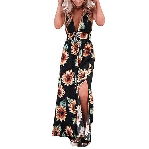 1e14bb844ac Makaor Women Sunflower Backless Slit Sundress Fashion Sexy Sleeveless Beach Long  Dress (Black