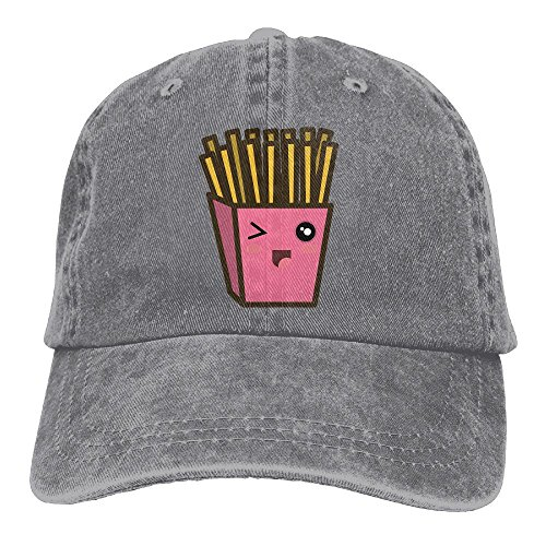 Qbeir Cartoon French Fries Adjustable Adult Cowboy Cotton Denim Hat Sunscreen Fishing Outdoors Retro Visor Cap]()