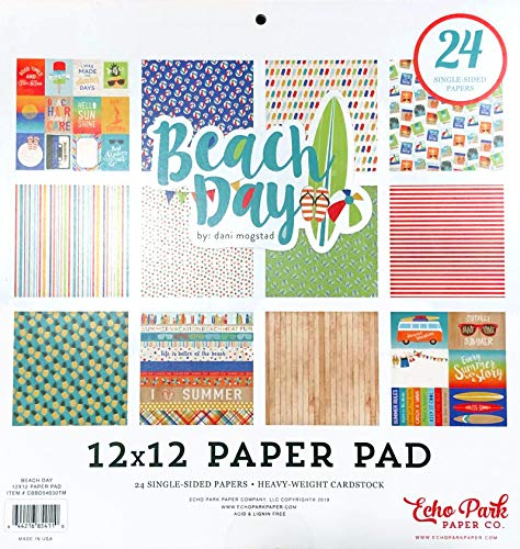 Carta Bella/Echo Park - Beach Day 12x12 Scrapbooking Project Decorative Paper Pad - Pineapples, Beach Balls, Waves, Ocean, Sea, Sand, Sunglasses, Surfboards, Flip Flops, Popcicles - 24 Pages