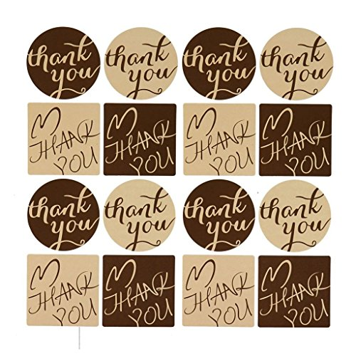Thank you Sticker for Gift Packaging, Brown Color, Round and
