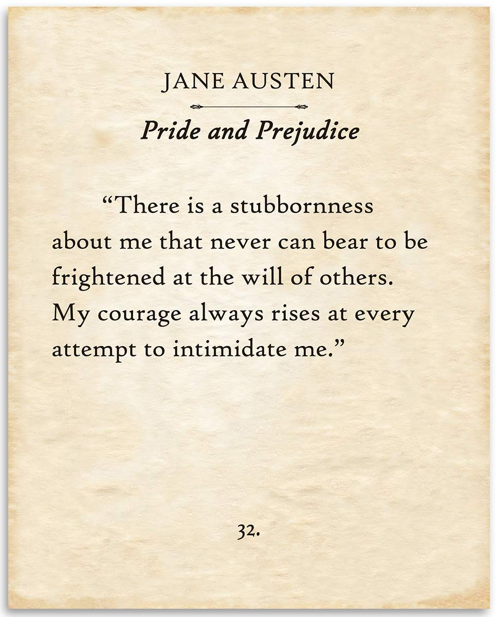Jane Austen - There Is A Stubbornness - 11x14 Unframed Typography Book Page Print - Great Decor and Gift for Romance Novel Literary Fans Under $15