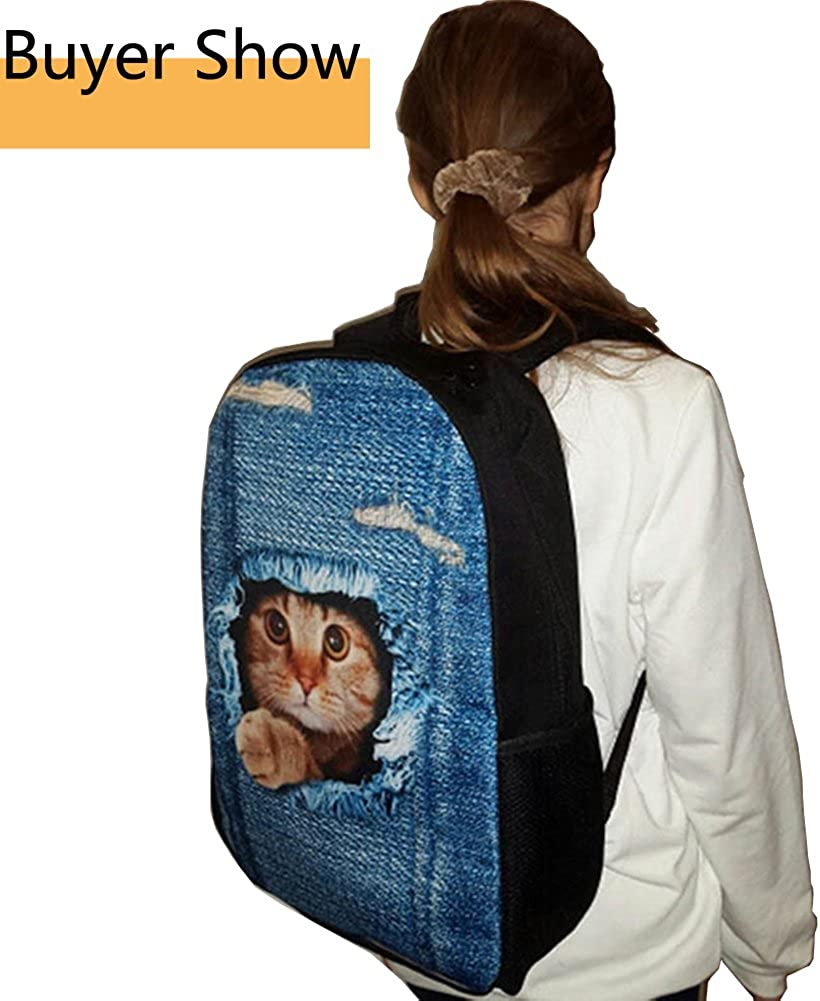 doginthehole Cartoon Dear Print Backpacks Mochila Daily Laptop Knapsack Bookbag