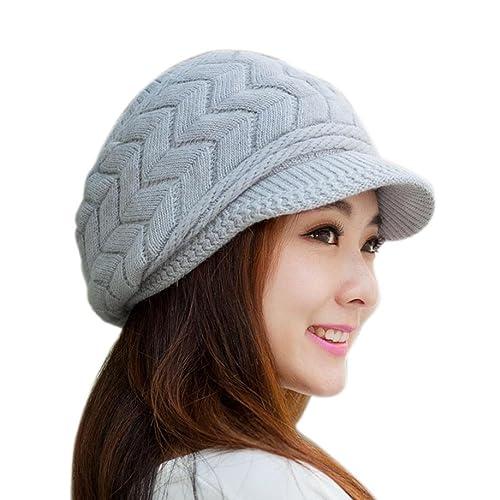FEITONG Las mujeres sombrero de invierno skullies Gorros sombreros de punto Casquillo de la piel del...