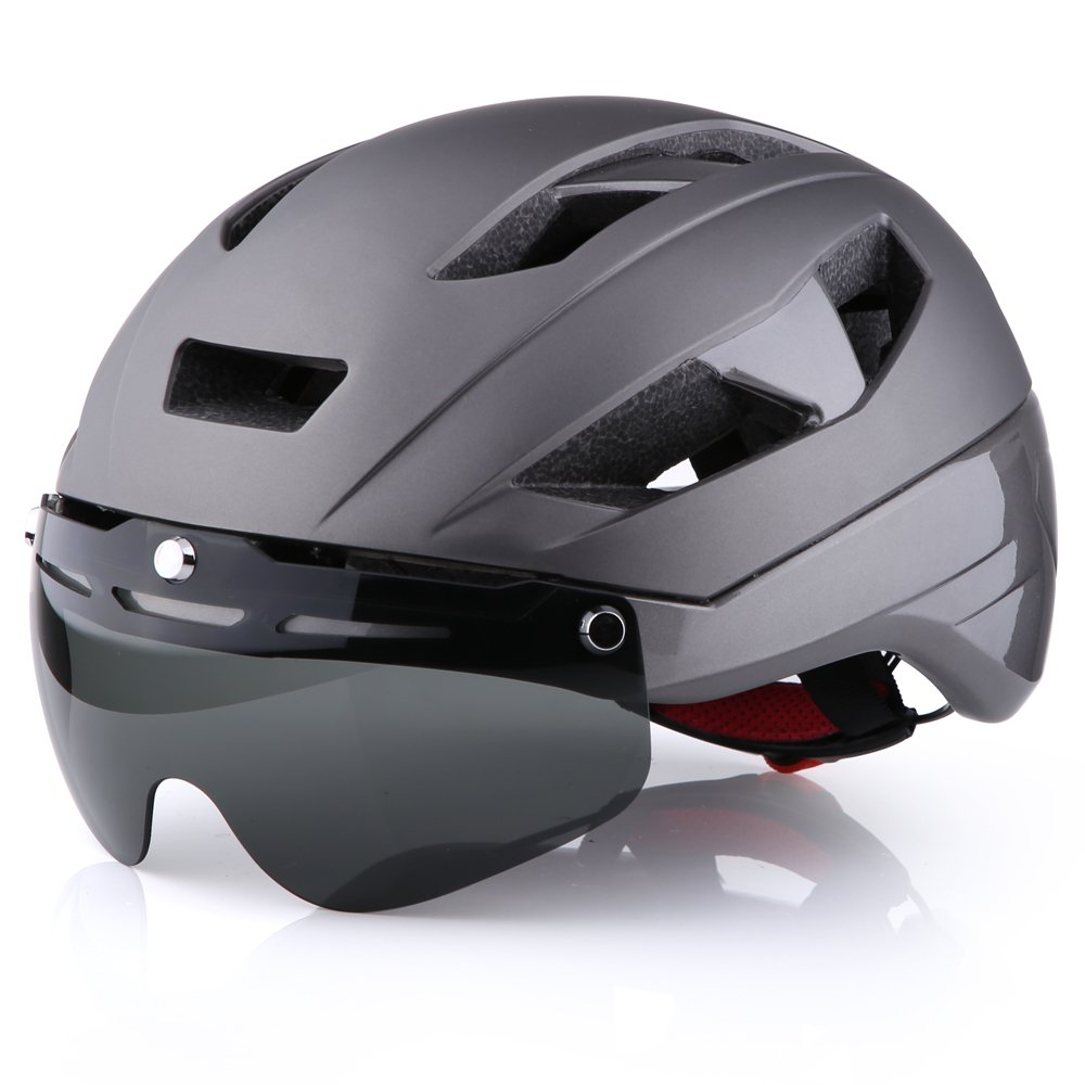 Base Camp Moon Road Bike Helmet with Removable Eye Shield Visor for Adult Cycling - Medium Size 21.75-23.25 Inches