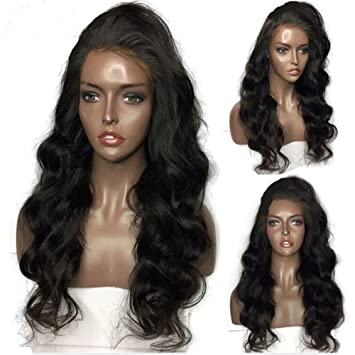 388ea8dc4 Amazon.com : Lace Front Wigs Glueless Body Wave Human Hair Full Lace Virgin Hair  Wigs Natural Black Color with Baby Hair for Black Women 130% Density 20 ...