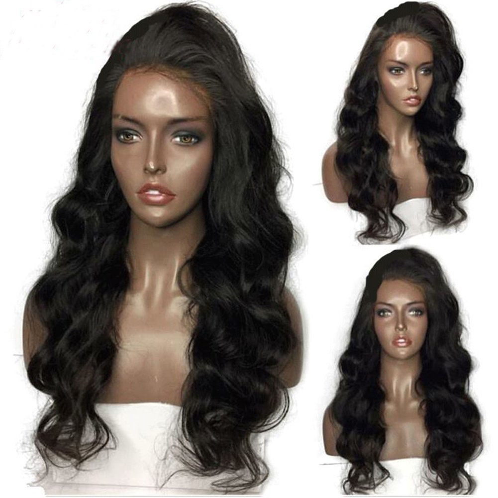 Lace Front Wigs Loose Wave Human Hair Glueless Natural Color 130% Density 16 Inch