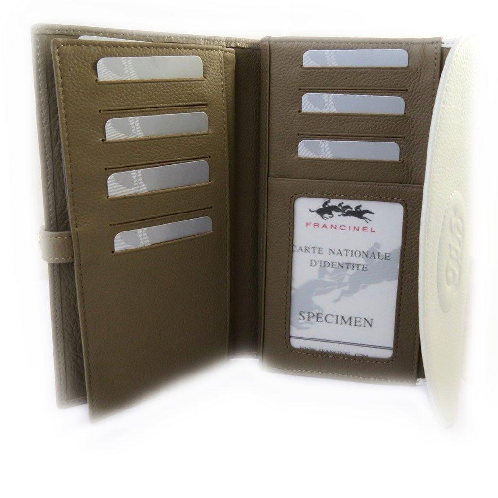 Leather wallet checkbook holder Vend/ôme white mole.